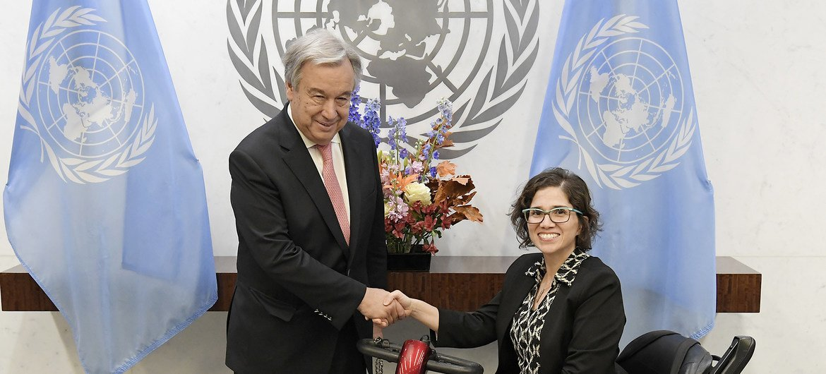 Secretary-General António Guterres (left) meets with Catalina Devandas Aguilar, Chair of the Coordination Committee of the Special Procedures of the Human Rights Council.