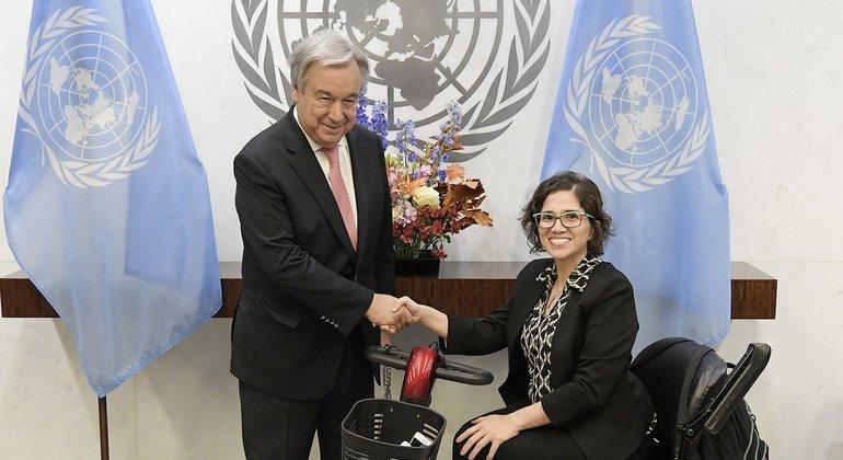 El Secretario General, António Guterres, se reúne con la Catalina Devandas Aguilar, relatora especial sobre los derechos de las personas con discapacidad.
