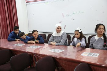UNRWA students from Ar Rimal and A-Zeitoun schools, during an interview with UN News in Gaza.
