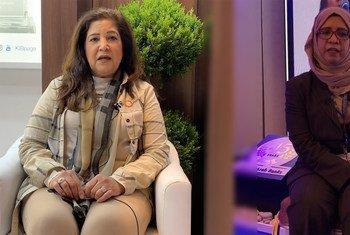 الدكتورة لولوة المطلق(يمين) والمهندسة هدى حميد صنقور(يسار)، رائدتا أعمال من البحرين، شاركتا في المؤتمر المصرفي العربي السنوي في بيروت، لبنان.