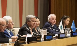 Secretary-General António Guterres speaks at the high-level UN-SCO event, at UN Headquarters, in New York.