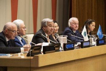 联合国秘书长古特雷斯在纽约总部举行的联合国与上海合作组织高级别会议上发表讲话。