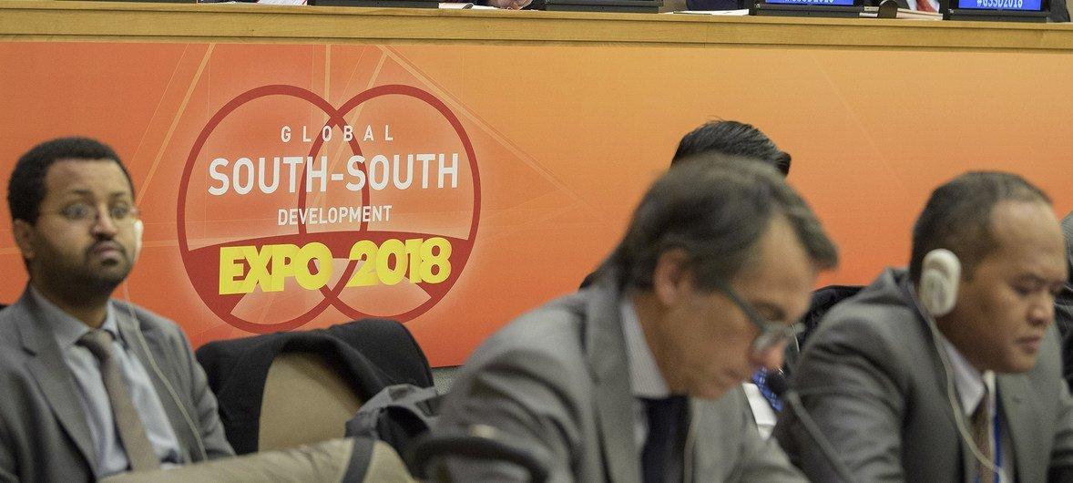 Delegados se reunen la inauguración de la Exposición de Desarrollo Sur Sur en la sede de la ONU en Nueva York.