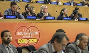 Des délégués à la réunion sur la coopération Sud-Sud au siège de l'ONU à New York.