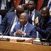 L'Ambassadeur Kacou Houadja Léon Adom, Représentant permanent de la Côte d'Ivoire à l'ONU lors d'une réunion du Conseil de sécurité sur la situation en République centrafricaine en juillet 2018