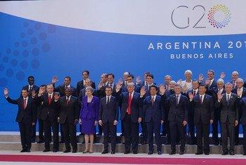 Picha ya pamoja ya viongozi wanaoshiriki mkutano wa G20 huko Buenos Aires nchini Argentina. Picha hiyo imepigwa leo Novemba 30, 2018