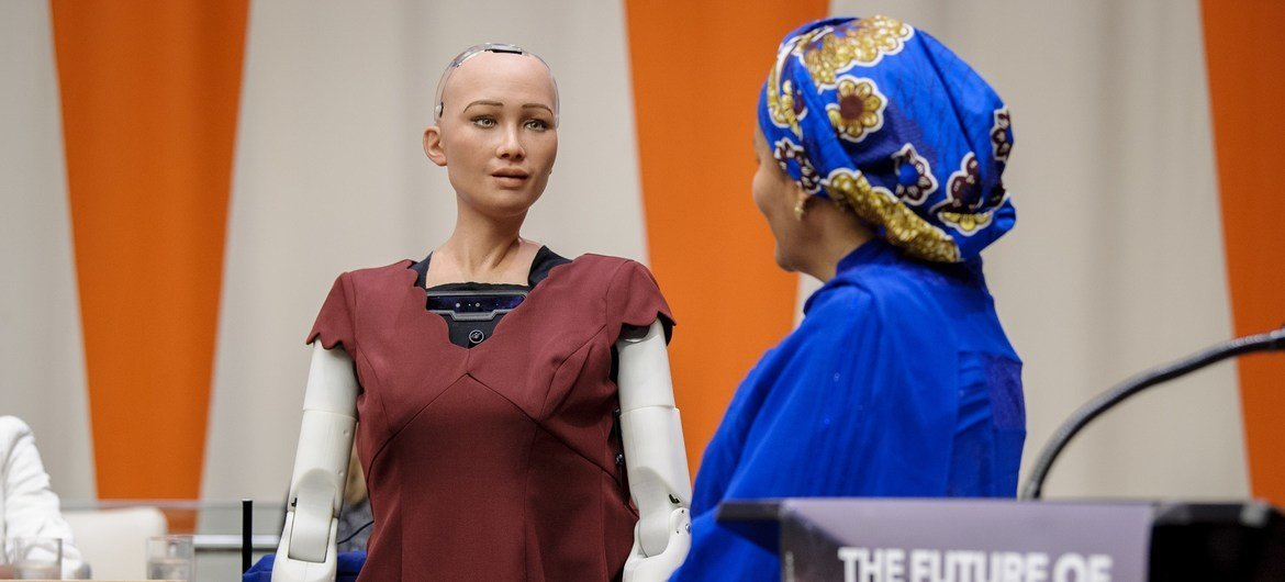 We are at the beginning of something unpredictable. First humanoid robot Sophia is official citizen of Saudi Arabia since 2017 and capable of developing empathy and human-like emotions (Humanoid Sophia speaking to UN Deputy Secretary-General Amina Mohammed at UN Headquarters in 2017)