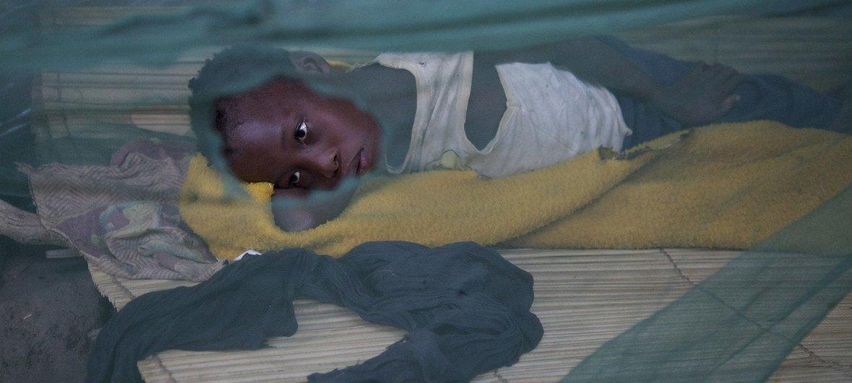 فتاة موزمبيقية بالغة من العمر عشر سنوات تعاني من الملاريا. تنام داخل ناموسية تحتوي عدة ثقوب.