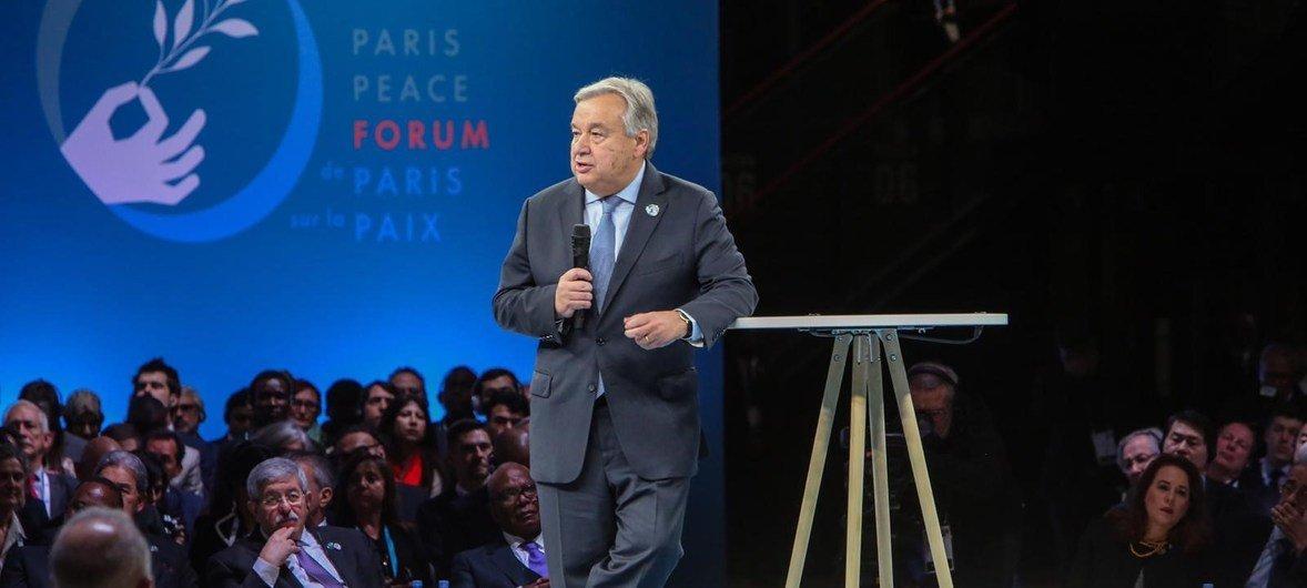 El Secretario General, António Guterres, en el Foro de París por la Paz, el 11 de noviembre de 2018.