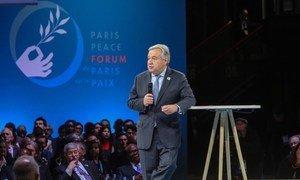 Le Secrétaire général de l'ONU, António Guterres, au Forum de Paris sur la Paix, le 11 novembre 2018