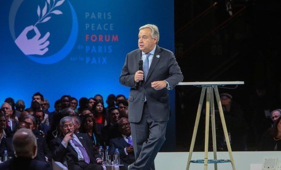 UN Secretary-General António Guterres at the first Paris Peace Forum, on 11 November 2018.