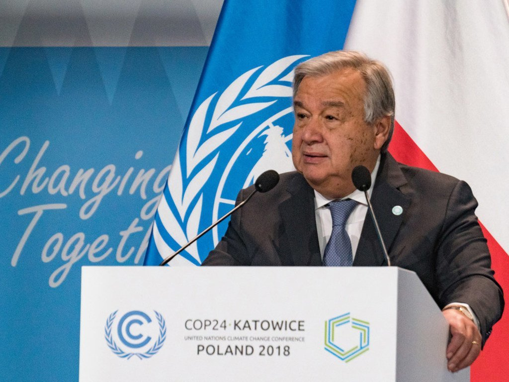 United Nations Secretary-General António Guterres addressing the High-Level session of the Katowice Climate Change Conference, COP24, on 3 December 2018.