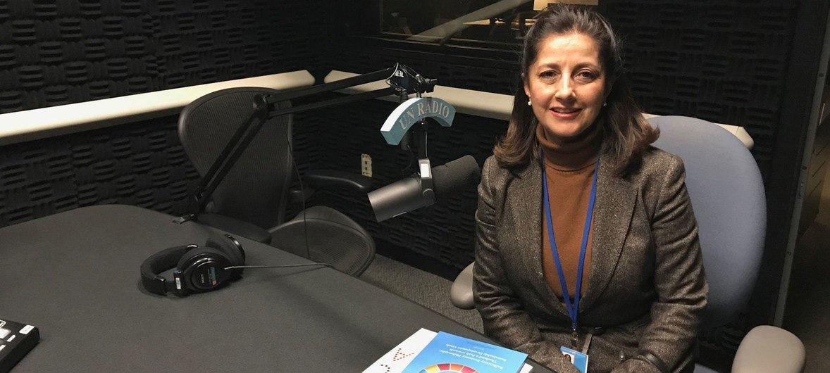 Angela Ospina, Directora de la Agencia Presidencial de Cooperación de Colombia, en los estudios de Noticias ONU.