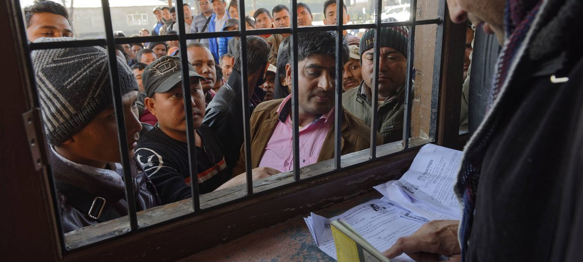 Visa applicants at the Migration Resource Center in Nepal wishing go abroad.