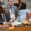 Le Président de la Côte d'Ivoire, Alassane Ouattara (à gauche), au Conseil de sécurité. Son pays préside le Conseil en décembre.
