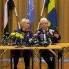 Mkutano na waandishi wa habari Rimbo, Sweden. Wa pili kutoka kulia ni Martin Griffiths, mjumbe maalum wa UN kwa Yemen na kulia kwake ni Waziri wa Mambo ya Nje wa Sweden Margot Walstrom
