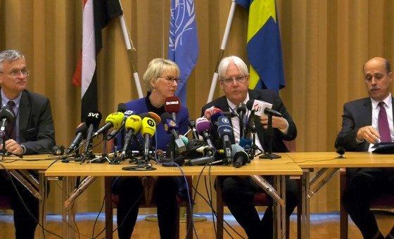 L'Envoyé spécial de l'ONU pour le Yémen, Martin Griffiths, lors d'une conférence de presse