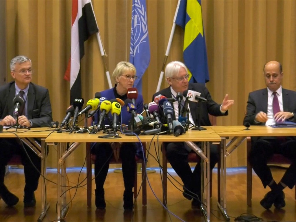 Special Envoy Martin Griffiths (2nd right) speaks at a press conference in Sweden, alongside Swedish Foreign Minister, Margot Wallström (2nd left).