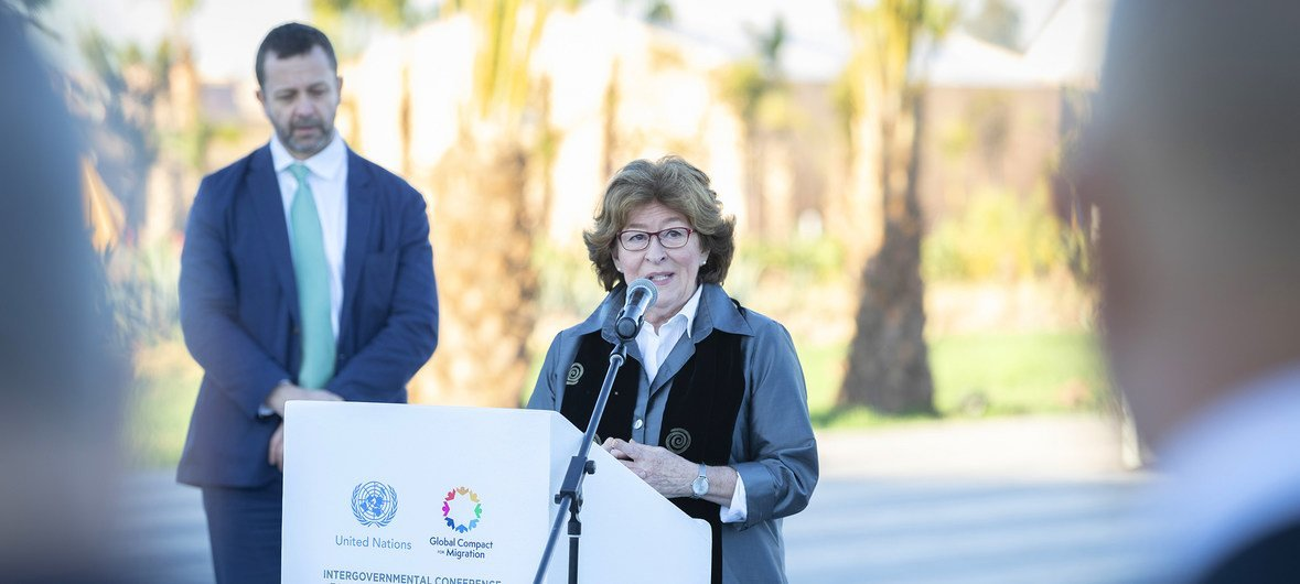 The UN Special Representative for International Migration, Louise Arbour, addresses delegates at the flag-raising ceremony of the Global Compact for Migration conference in Marrakesh, Morocco.
