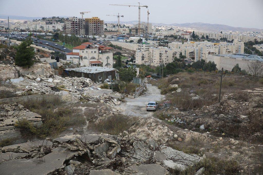 东耶路撒冷益处被拆毁的巴勒斯坦人房屋的废墟。