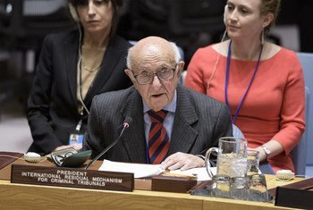 Judge Theodor Meron, President of the International Residual Mechanism for Criminal Tribunals, briefs the Security Council.
