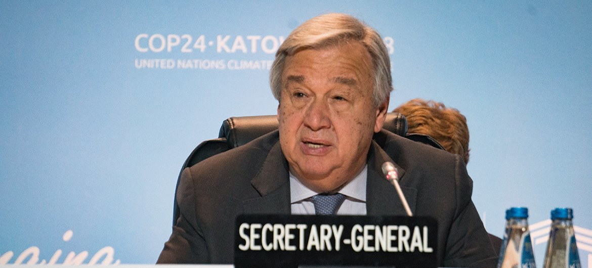 Failing to agree on climate action would 'not only be immoral' but  'suicidal', UN chief tells COP24 | | UN News