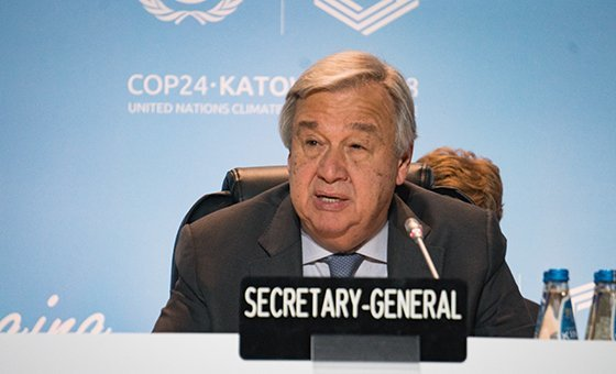 UN Secretary-General António Guterres at the COP24 climate change conference in Katowice, Poland. 12 December 2018.