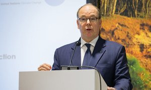 Prince Albert II of Monaco, chair of the IOC Sustainability and Legacy Commission, speaking at the launch of the Sports Climate Action Framework at the COP24 climate action conference in Katowice, Poland.  11 December 2018.