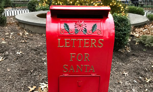A post box at a park in New York, where children can drop their 'letters for Santa'
