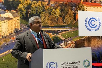 Satya Tripathi, the Assistant Secretary-General of UN Environment, addresses delegates at the COP24 climate conference in Katowice, Poland. (13 December 2018)