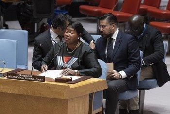 فاتو بنسودا المدعية العامة للمحكمة الجنائية الدولية خلال تقديم تقريرها الثامن والعشرين عن الوضع في دارفورأمام مجلس الأمن.
