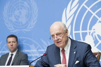 Staffan de Mistura, United Nations Special Envoy for Syria, briefs the press after the Joint Meeting on Syria, at the Palais des Nations, Geneva. 18 December 2018.