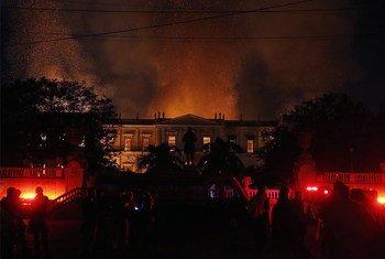 Fogo destruiu o Museu Nacional no Rio de Janeiro em setembro de 2018.
