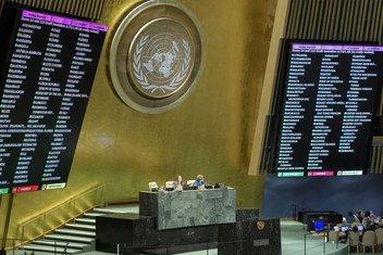Ubao wa matokeo ya kura baada ya wajumbe wa Baraza Kuu la UN kupigia kura leo Desemba 19, 2018 mkataba wa Marrakech kuhusu uhamiaji