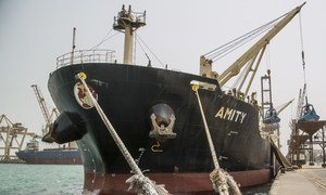 The Amity vessel in the Hudaydah port.  The port of Hudaydah is Yemen's lifeline and the only way that food and fuel get into the country. 26 July 2018.