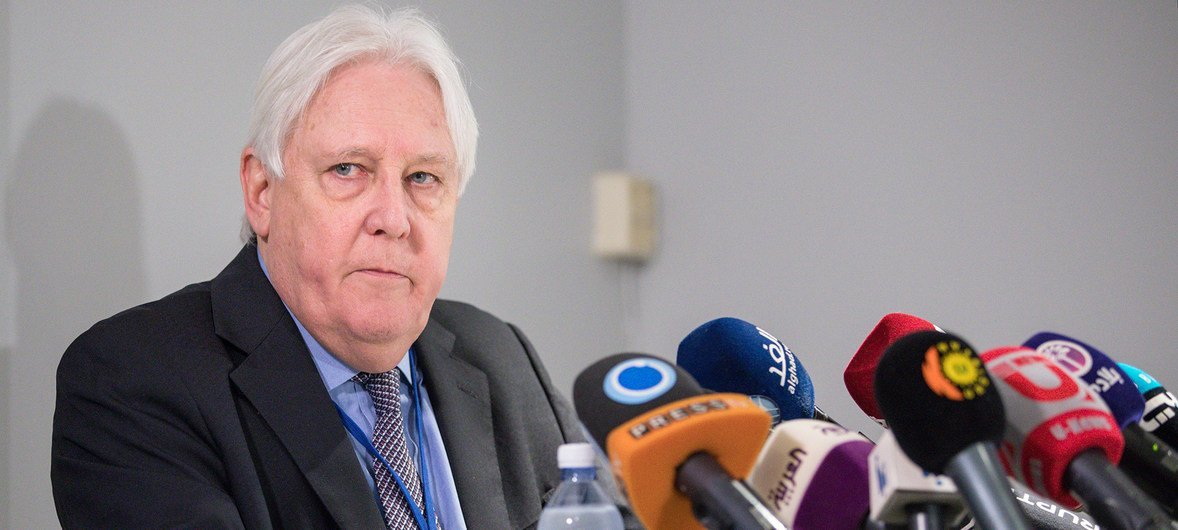 Martin Griffiths, Special Envoy of the Secretary-General for Yemen, briefs the press at the Yemen political consultations in Sweden, on 10 December 2018.
