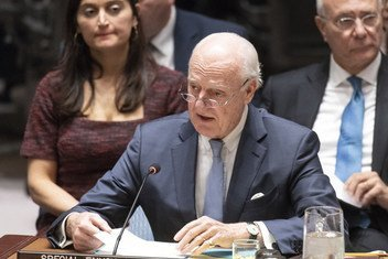 UN Special Envoy for Syria, Staffan de Mistura, briefs the Security Council on the situation in the Middle East, including Syria.