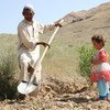 Khair (left) is the father of seven children, who is no longer able to feed them. The drought has destroyed his land in Daykundi Province, Afghanistan; and this year he harvested nothing. (June 2018)