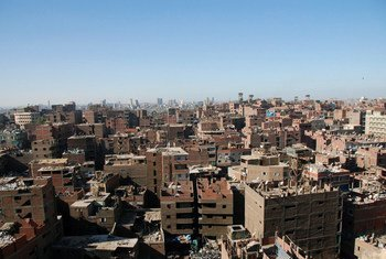 Buildings under construction in downtown Cairo.