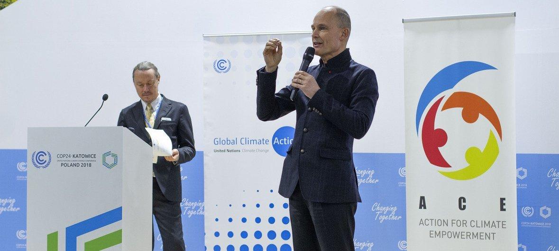 Бертран Пиккар, Посол доброй воли ООН, во время высиупления на Конференции по климату в Катовице.