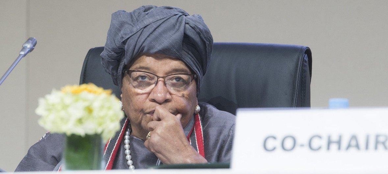 Ellen Johnson Sirleaf,Mwenyekiti wa jopo la ngazi ya juu kuhusu Uhamiaji wa kimataifa barani Afrika kwenye mkutano kuhusu uhamiaji Marrakesh, Morocco.