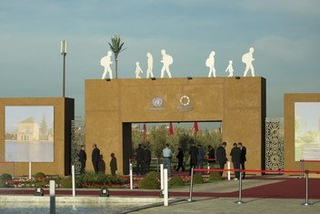 The main entrance to the Global Compact for Migration Conference in Marrakech, Morocco.