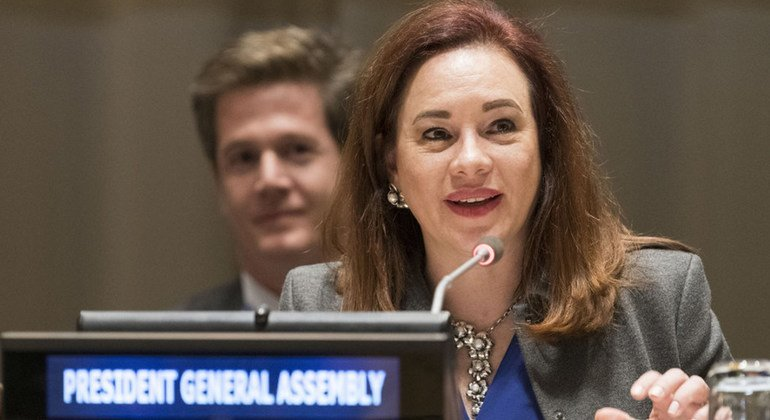 """María Fernanda Espinosa Garcés, President of the seventy-third session of the General Assembly, addresses an event to mark the Global Compact on Refugees, entitled """"A Model for Greater Solidarity and Cooperation."""