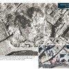 Photos d'avant et après satellites de l'Hôpital national Hamidi, dans l'ancienne ville d'Alep, en Syrie.  Les vues dates de 2010 et 2014, avant et après la destruction de l'hôpital dans le conflit en cours en Syrie.