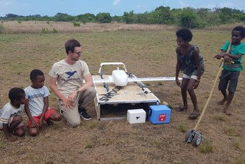 World's first drone-delivered vaccine in Vanuatu. The vaccine delivery covered almost 40 kilometers of rugged mountainous terrain from Dillon's Bay on the west side of the island to the east landing in remote Cook's Bay,