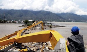 The Indonesian island of Sulawesi was struck by an earthquake and tsunami in September 2018. More than 2,000 people died and 80,000 were displaced. Here, a man looks at a destructed road and bridge in the city of Palu.