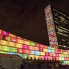 The 17 Sustainable Development Goals projected on UN headquarters, New York, 2015.