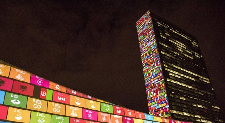The Sustainable Development Goals projected onto UN Headquarters, New York.