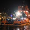 The Spanish Coast Guard vessel, Maria Zambrano, docking in the port of Algeciras, Spain, after rescuing 146 Moroccan refugees and migrants on the Mediterranean Sea.