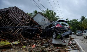 A car damaged by the tsunami in Labuhan Village, Pandeglang, Banten, Indonesia.  24 December 2018.